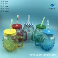 徐州生产500ml菠萝梅森玻璃杯,手把玻璃杯生产商