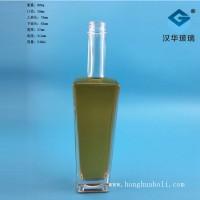 徐州生产500ml长方形玻璃酒瓶,晶白料玻璃酒瓶生产厂家