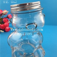 300ml歪头熊玻璃糖果罐,工艺玻璃储物罐生产厂家