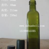 厂家直销250ml墨绿色方形橄榄油玻璃瓶