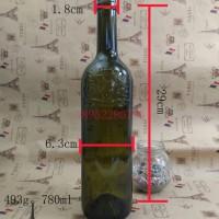 厂家直销750ml红酒玻璃瓶墨绿色玻璃葡萄酒瓶