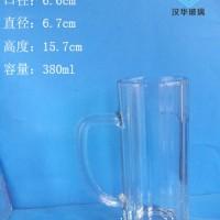 厂家直销380ml啤酒玻璃把子杯