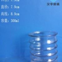 热销300ml螺纹玻璃烛台,蜡烛玻璃杯批发