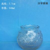 340ml莲花玻璃烛台,厂家直销工艺蜡烛玻璃杯价格