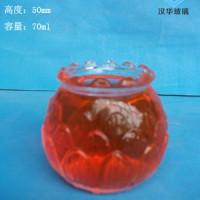 徐州生产70ml莲花玻璃烛台,工艺蜡烛玻璃杯批发