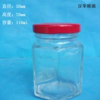 徐州生产100ml六棱蜂蜜玻璃瓶,玻璃酱菜瓶批发