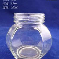 批发200ml六面玻璃蜂蜜瓶价格,厂家直销蜂蜜玻璃罐