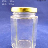 徐州生产220ml六棱蜂蜜玻璃瓶,果酱玻璃瓶生产厂家