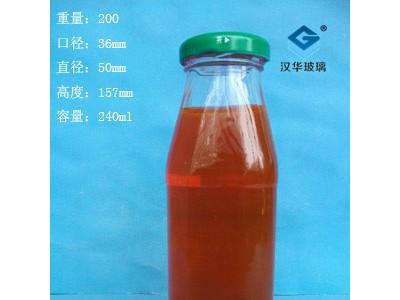 徐州生产240ml方形玻璃果汁瓶,饮料玻璃瓶生产厂家